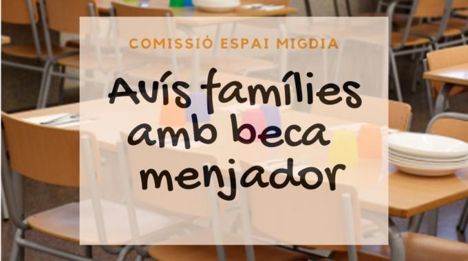 Informació Per Les Famílies Amb Beca Menjador