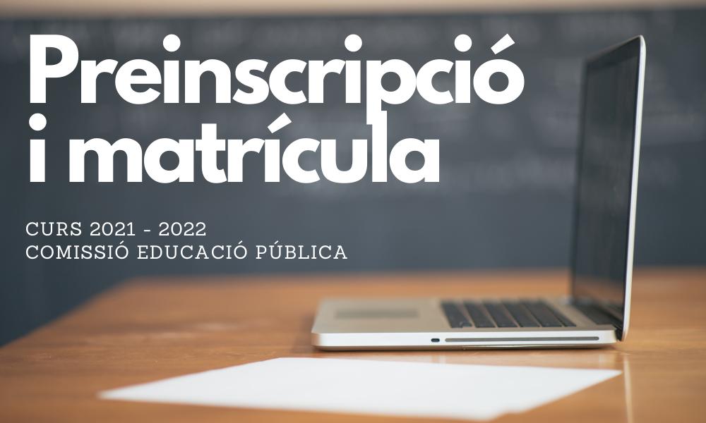 Instituts: Preinscripció i matrícula curs 2021-2022