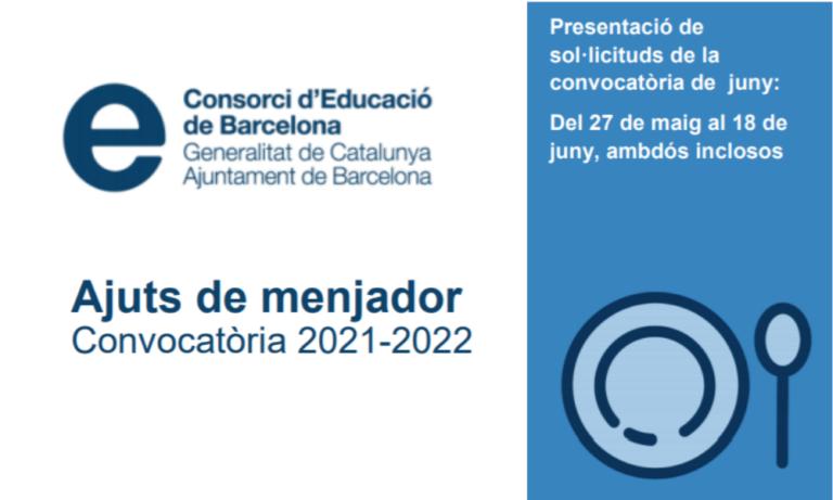 Ajuts de menjador escolar 2021-2022. Convocatòria de setembre.
